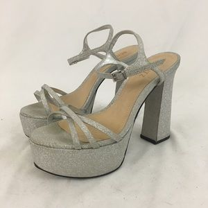 Schutz Silver Sparkly Heels From Nordstrom NWT